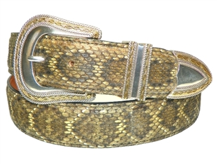 "Rattlesnake Belt 1 1/2"" with Barbwire Buckle Set"