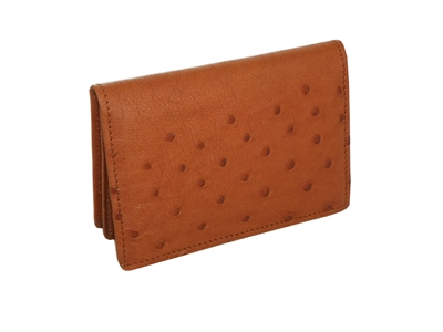 Ostrich ID Card Case Gusset Wallet