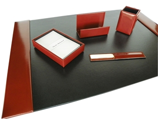 Italian Kid Leather 5-Piece Desk Set