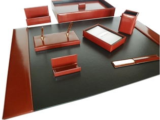Italian Kid Leather 9-Piece Desk Set