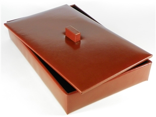 Italian Kid Leather Letter Tray with Lid set