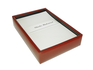 Italian Kid Leather Memo Box with 4x6 Paper