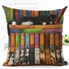 Library Cat's Book Bed Decorative Pillow