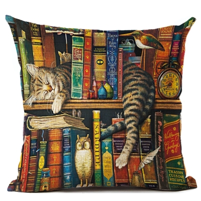 Library Cat Napping With A Smile Decorative Pillow