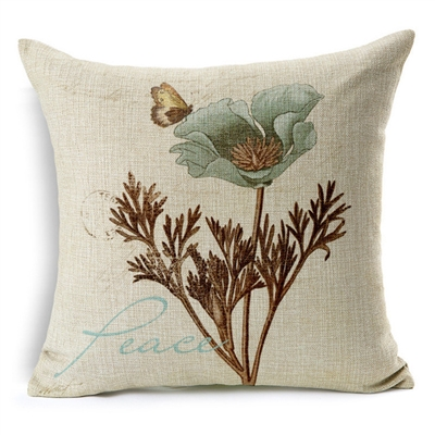 Peace Botanical Postal Vintage Square Decorative Pillow