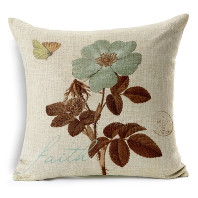 Faith Botanical Postal Vintage Square Decorative Pillow