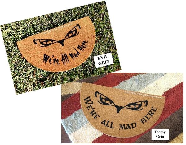 """Alice in Wonderland We are All Mad Here Smile Home Door Mat 18/""""x30/"""" Halloween"""