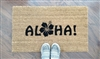 Aloha with a Flower Custom Doormat by Killer Doormats