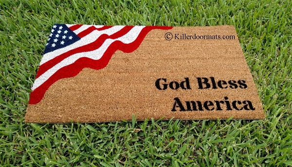 God Bless America Patriotic Flag Custom Handpainted Welcome Doormat