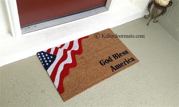 Charmant God Bless America Patriotic Flag Custom Handpainted Welcome Doormat By  Killer Doormats