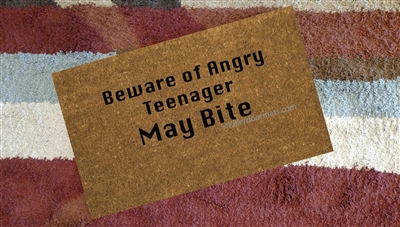 Beware of Angry Teenager Custom Doormat by Killer Doormats