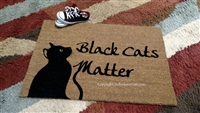 Black Cats Matter Custom Cute Handpainted Welcome Mat by Killer Doormats