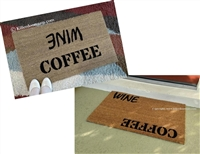 Coffee Wine Custom Handpainted Welcome Doormat by Killer Doormats, Two Versions