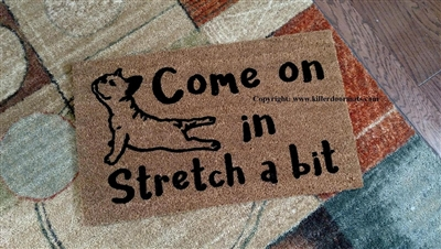 Come On In Stretch a Bit French Bulldog Yoga Custom Handpainted Cute Doormat by Killer Doormats