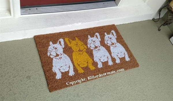 Plenty Of Frenchies Row Of French Bulldogs Custom Handpainted Cute Doormat  By Killer Doormats