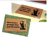 Here Lives A Grumpy/Not Grumpy Bear And His Honey Funny Custom Handpainted Welcome Mat by Killer Doormats
