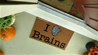 I Love Brains Custom Handpainted Funny Geek Welcome Doormat by Killer Doormats