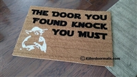 The Door You Found Knock You Must Custom Handpainted Funny Fandom Welcome Doormat by Killer Doormats