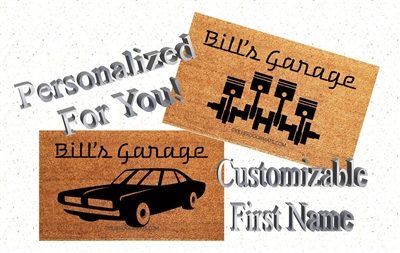 Personalized Name's Garage Car Guy Custom Handpainted Doormat by Killer Doormats