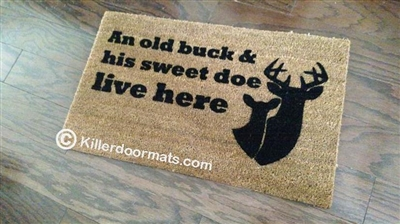 An Old Buck & His Sweet Doe Live Here Funny Custom Handpainted Welcome Mat by Killer Doormats