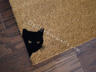 Peeking Black Cat Custom Cute Hand Painted Welcome Mat by Killer Doormats