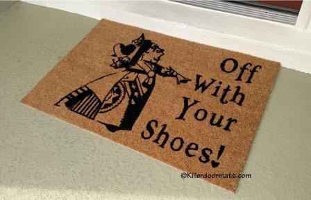 Off With Your Shoes Queen Of Hearts Custom Doormat By