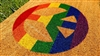 Rainbow Peace Sign Custom Handpainted Doormat by Killer Doormats