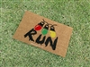 Stranger Fandom Run Christmas Lights Message Custom Hand Painted Welcome Door Mat by Killer Doormats