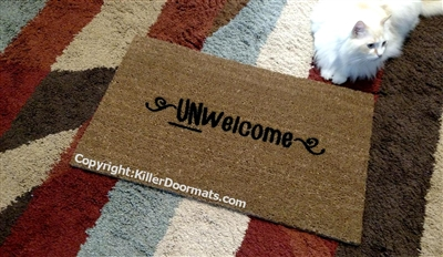 Unwelcome Custom Funny Rude Handpainted Doormat by Killer Doormats