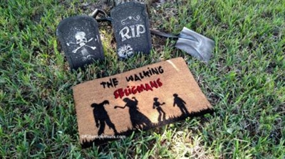 The Walking Zombie Customizable Family Doormat by Killer Doormats