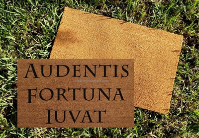 Audentis Fortuna Iuvat - Fortune Favors the Brave Custom Handpainted Doormat by Killer Doormats