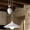 Duse White Glazed Ceramic Interior Counterweight Pendant by Aldo Bernardi