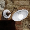 Duse White Glazed Ceramic and Brass Interior Sconce by Aldo Bernardi