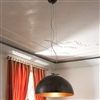 MOON1.BF Small Hemispherical Steel Pendant with Lustrous Precious Metal Shade by Aldo Bernardi