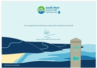 SOUTH DEVON Completion Certificate & Badge SOUTH DEVON
