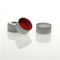 Silver, 11mm Open Top Crimp Cap with Transparent PTFE/Red Silicone Septa 1mm thick; Pack of 100