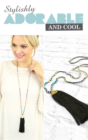Cleo Necklace - Black-Beauty and the Boutique