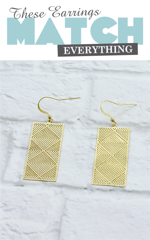 Geo Rectangle earring gold - Beauty and the Boutique