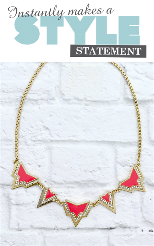 Enamel & Crustal arrow necklace Orchid pink - Beauty and the Boutique