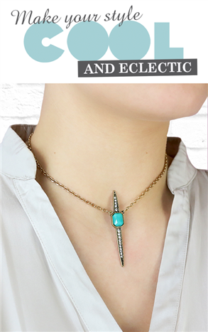 Gem & Crystal spike necklace - Beauty and the Boutique