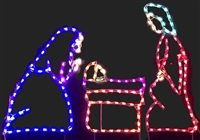 3 Piece Nativity Small with Colored Lights