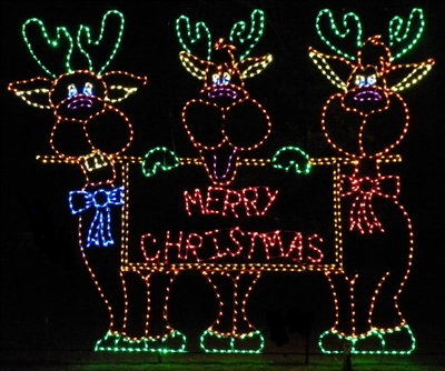 Merry Christmas Reindeer - Lighted reindeer yard decorations