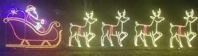 Commercial Santa in Sleigh with 4 Deer