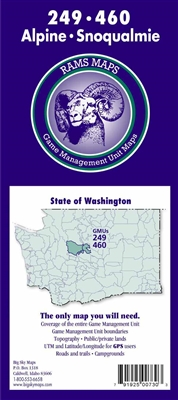 Alpine 249 GMU Map, Snoqualmie 460 GMU Map, Hunting unit maps, WA Game Management Unit Maps