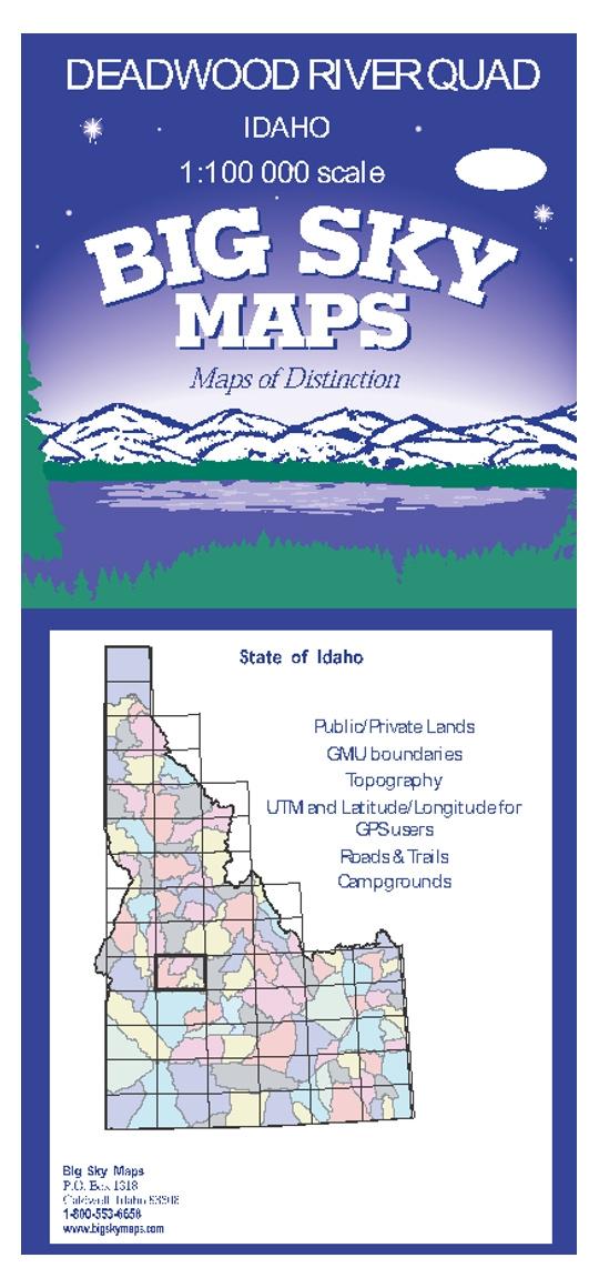 Deadwood River Quadrangle Map on deadwood lake idaho map, western idaho road map, kooskia id map,