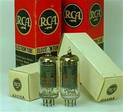 NOS RCA 6AU6 EF94 BLACK PLATES NEW IN BOX MATCHED PAIR MADE IN USA 1960's