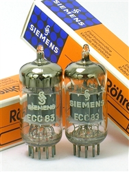 SIEMENS HALSKE ECC83 12AX7 BALANCED MATCHED LOW NOISE PAIR TUBES 2-GETTER RODS