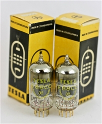 "NOS 6922 E88CC TESLA ""GOLD-GRID""  GOLDPIN MATCHED PAIR TUBES 1965 ROZNOV"