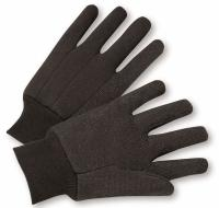 Knit Wrist Brown Jersey Glove - Mens