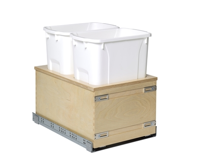 "Century Components Edge Series 14"" Bottom Mount Waste System - Double 34 qt. Bin"